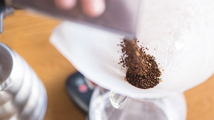 Add 45 grams of coarsly-ground coffee