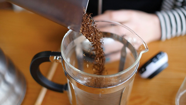 Pour Coffee Into The French Press