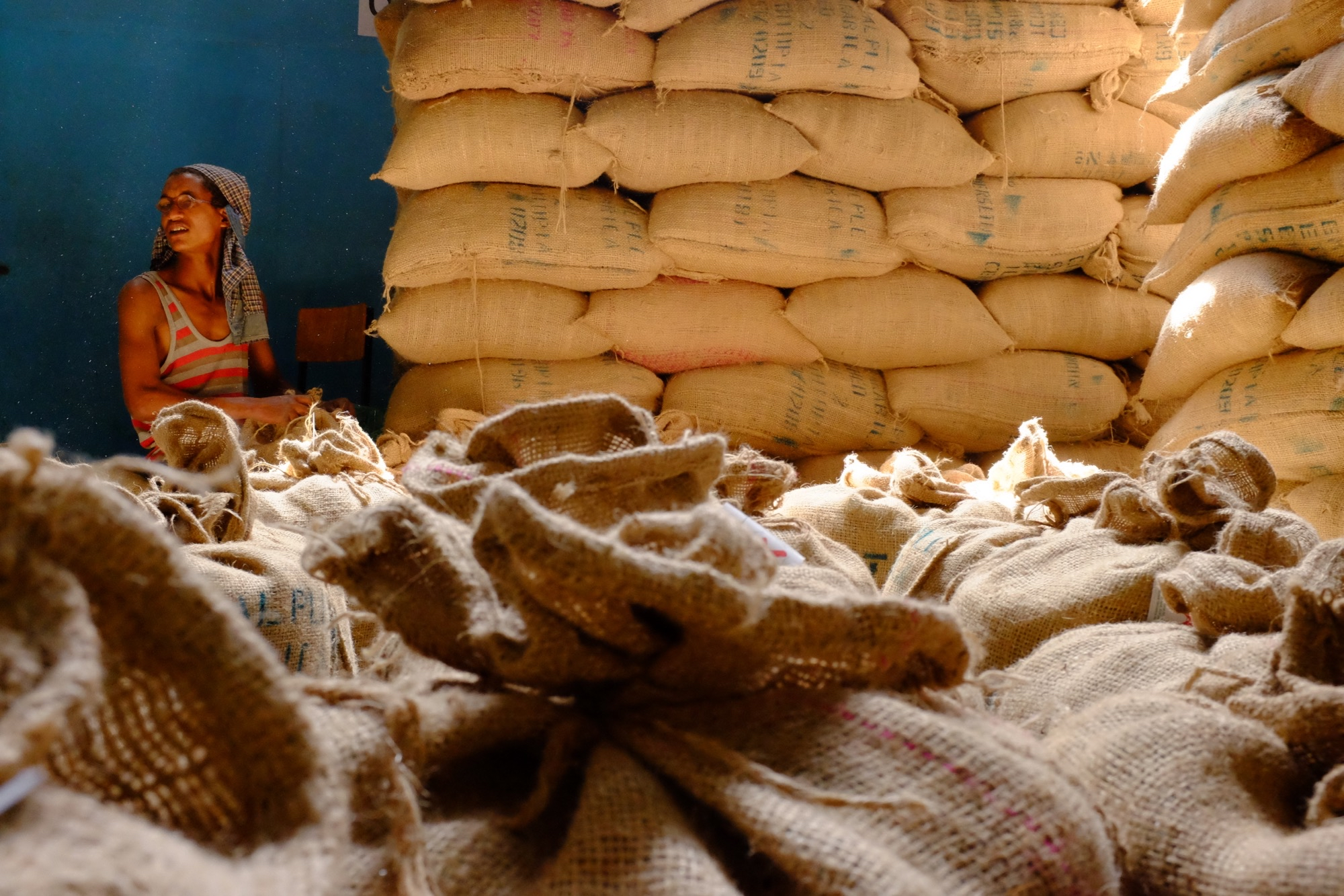 Bags of coffee being packed in an Addis Ababa export warehouse, to be shipped to the port of Oakland.